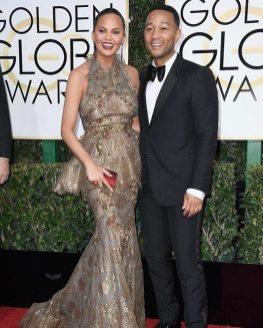 Chrissy Teigen in Marchesa with John Legend Golden Globes 2017