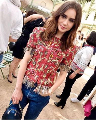 Lily Collins - Street Style Paris Couture Week F:W17