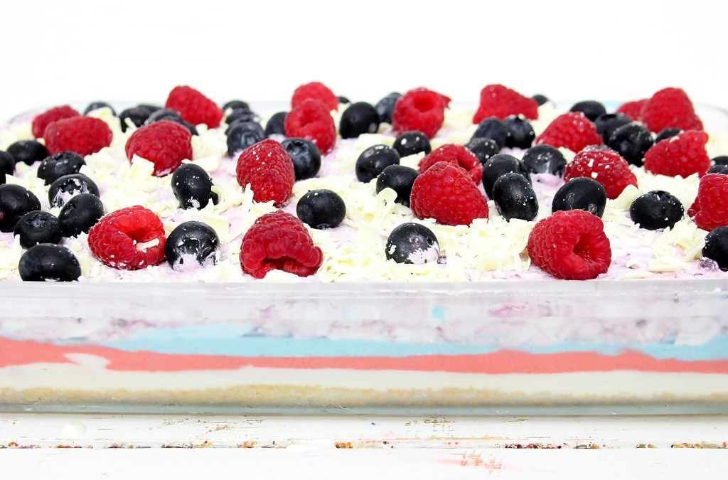 four layered berry cheesecake