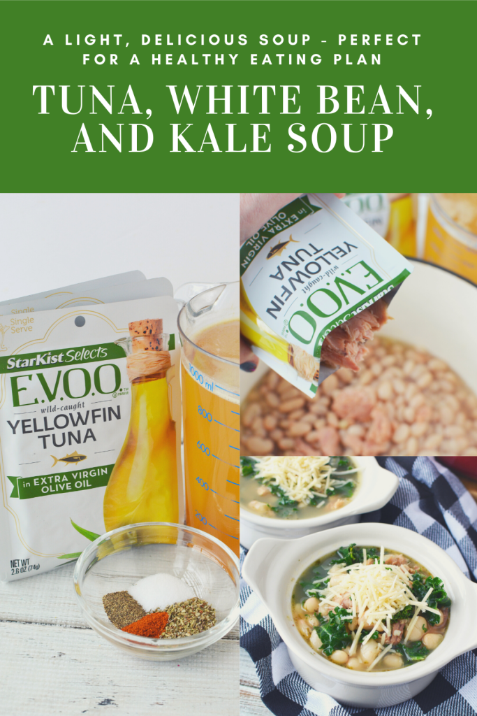 AD My Tuna, White Bean, and Kale Soup has a delicious @starkist tuna flavor and is a light soup, perfect for adding into your favorite healthy eating plan.