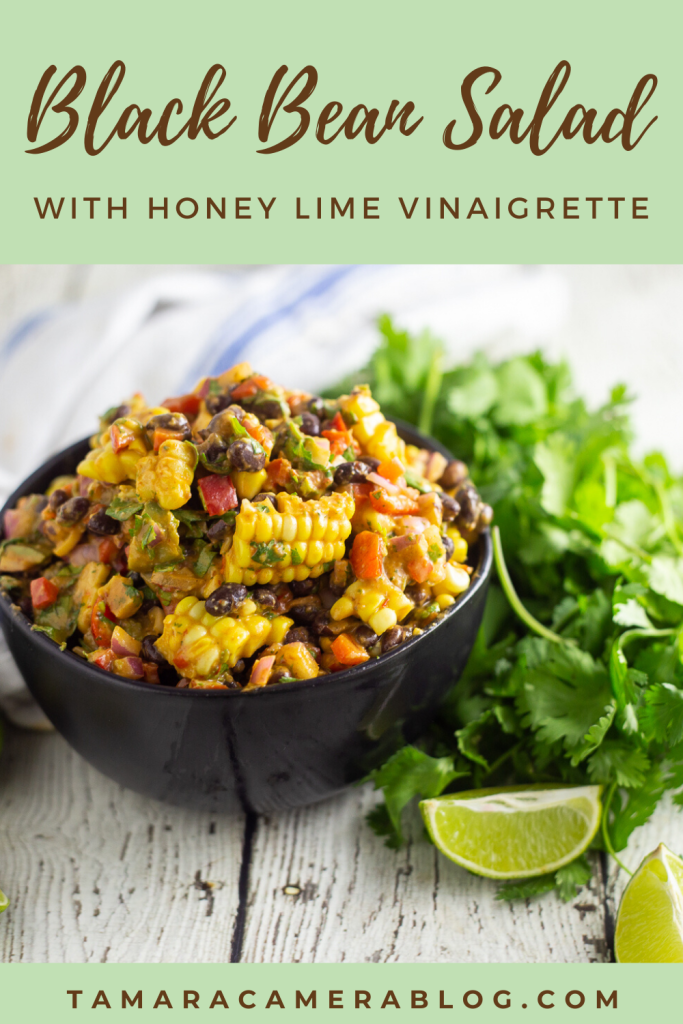 Make this easy and flavorful Black Bean Salad with Honey Lime Vinaigrette all summer long. You can use canned corn in the colder seasons. It's always good!