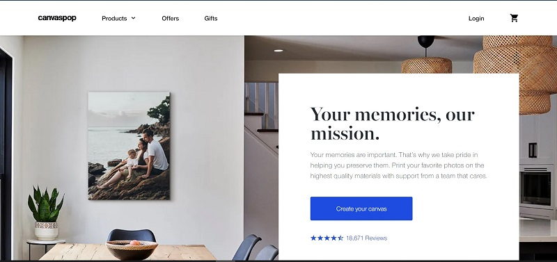 home page for Canvas Prints