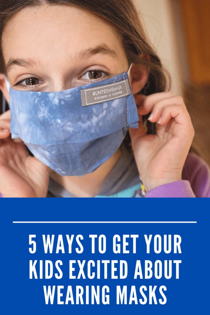 #AD Here are 5 practical (and even fun) ways to get kids excited about wearing masks. They create their own colorful ones! #maskne #maskerade