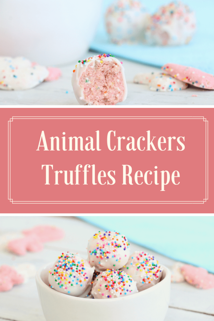 These Frosted Animal Crackers Truffles Recipe only use three ingredients and are easy to make for perfect party or get together fun with kids!