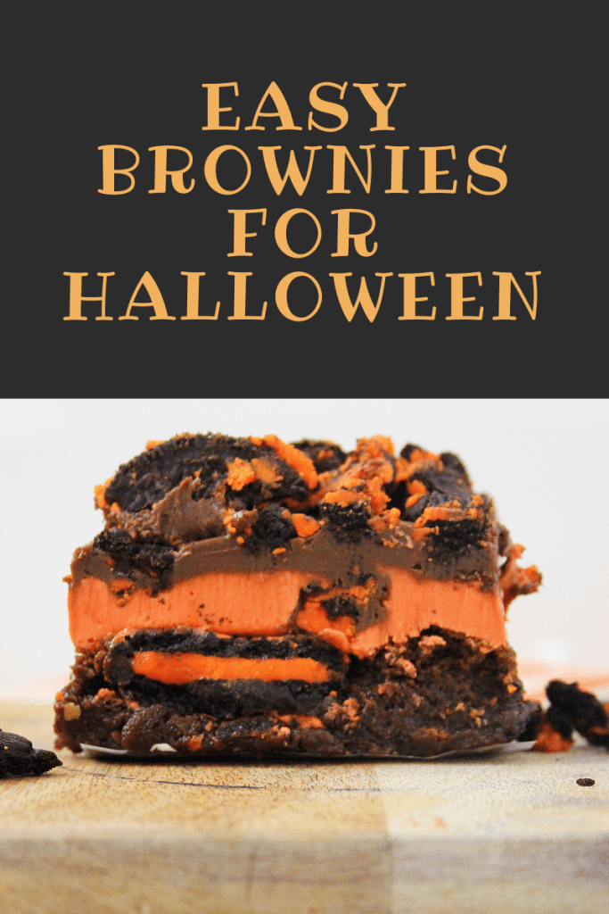 These easy brownies for Halloween are easier than they look! They are gooey and moist, and have a little OREO crunch as well. They're layered
