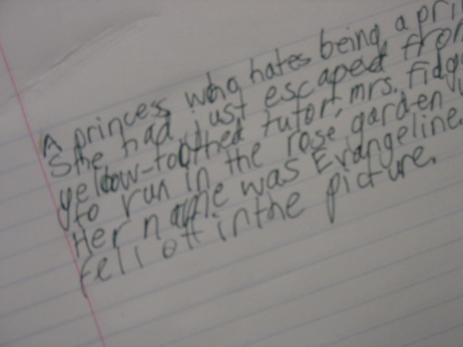 The budding young novelist's work.