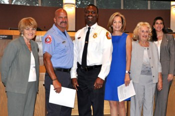 Dan Mariano (second) Receives his Proclamation back in May. Next to him is Tamarac Fire Operations Chief Percy Sayles along with Commissioner Pam Bushnell, Mayor Beth Talabisco, Vice Mayor Diane Glasser and Former Commissioner Michelle Gomez