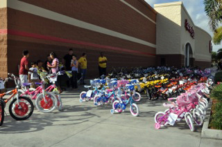 Over 200 bicycles were given away through the foundation on Saturday.