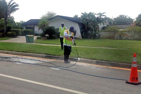 Tamarac crews pressure cleaning today