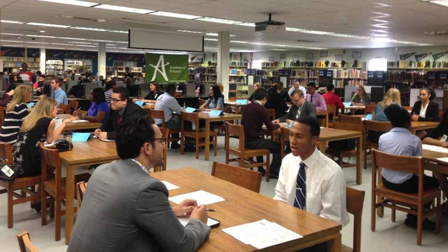 Photo of the JP Taravella Academy of Finance Mock Interview Day