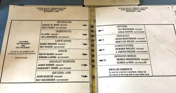 "Infamous ""Butterfly Ballot"" from Palm Beach County that ultimately cost Al Gore the 2000 election.  From the desk of Broward Democratic Chair Mitch Ceasar."