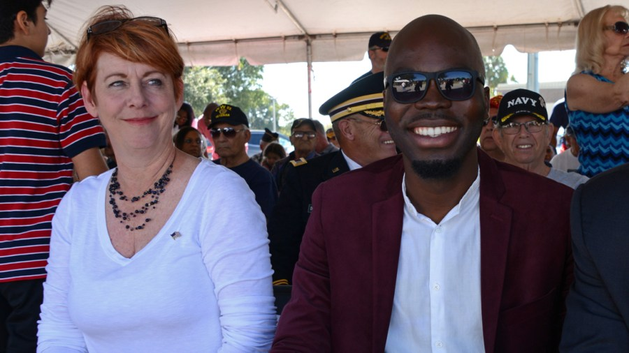 Newly elected Commissioners Julie Fishman and Marlon Bolton at the Veterans Day Ceremony.