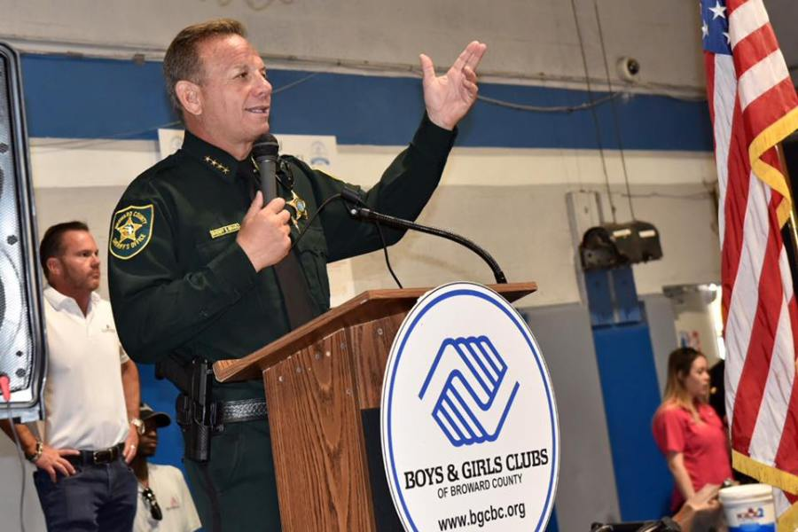 Sheriff Israel speaking at the Boys and Girls Clubs of Broward County to show his appreciation for all they do for the community. Photo by the Broward Sheriff's Office.