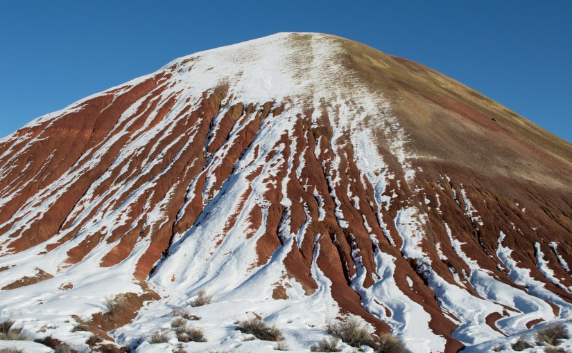 The Painted Hills in winter, an unfinished canvas