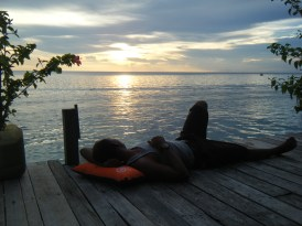 relaxing at the end of the day at Scuba Jeffs