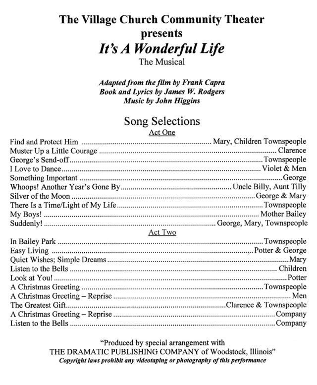 Tamara It S A Wonderful Life The Musical The Village Church Community Theater San Diego