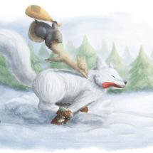 Fox running through the snow