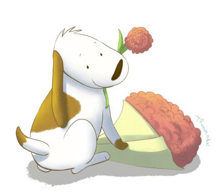 Valentine pup white BG