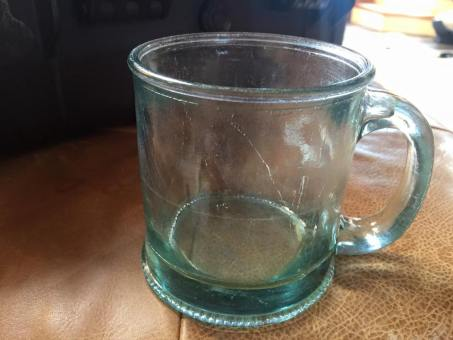 Green (Recycled?) Glass Mug: 431 ppm Lead. [For context: 100 ppm Lead is considered unsafe in toys.]