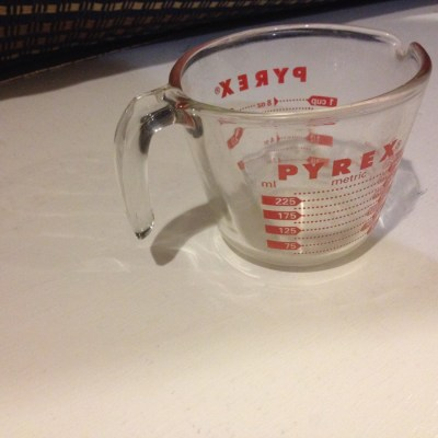 Pyrex® Glass Measuring Cup (c. 1994): 6,253 ppm Lead in the red outside markings. [90 ppm is unsafe for kids]