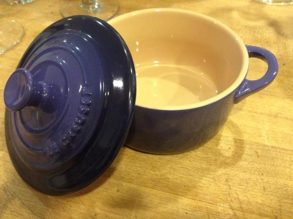Small Blue Ceramic Le Creuset Custard Pot: 36,900 ppm Lead