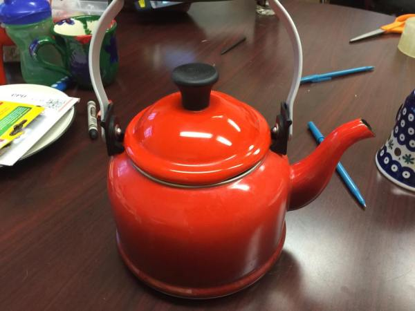 The red exterior enamel on this Le Creuset tea kettle tested positive for 9,163 ppm Cadmium. Cadmium is a known carcinogen.