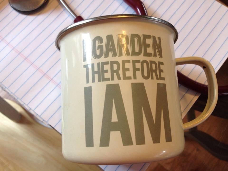 "2014 Enamelware Metal Mug, ""I Garden"" (Purchased at New Seasons Market): 15,000 ppm Lead"