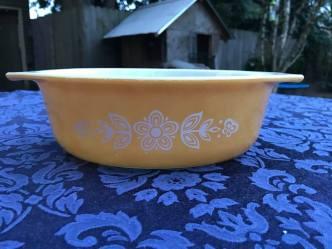"Vintage ""Butterfly Gold"" Pattern Pyrex Casserole Dish, c. 1972 Lead Safe Mama Tamara Rubin"