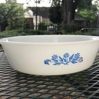 Cornflower Pattern Vintage Milk Glass Casserole, Anchor Hocking 1