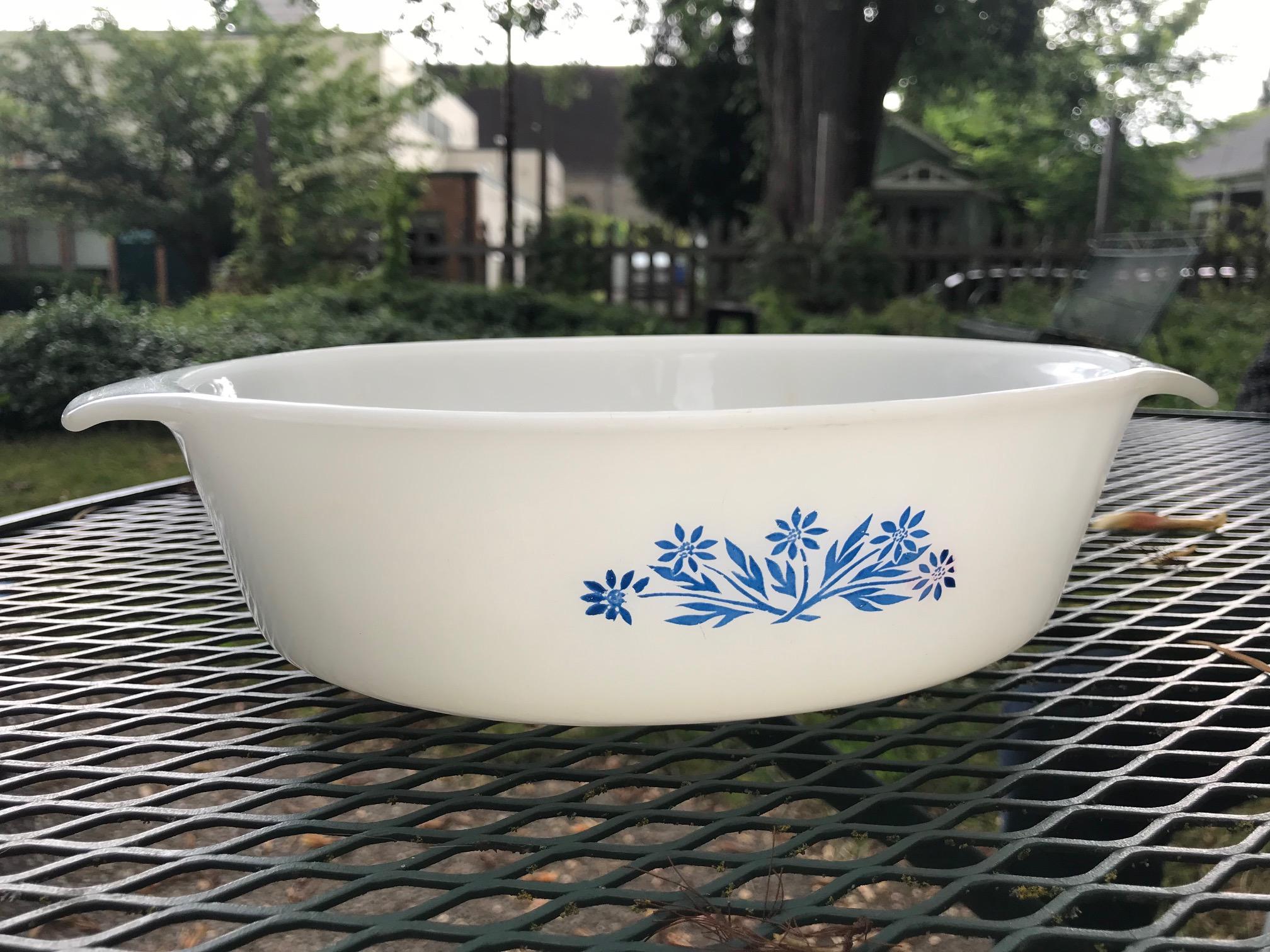 Cornflower Pattern Vintage Milk Glass Casserole, Anchor Hocking