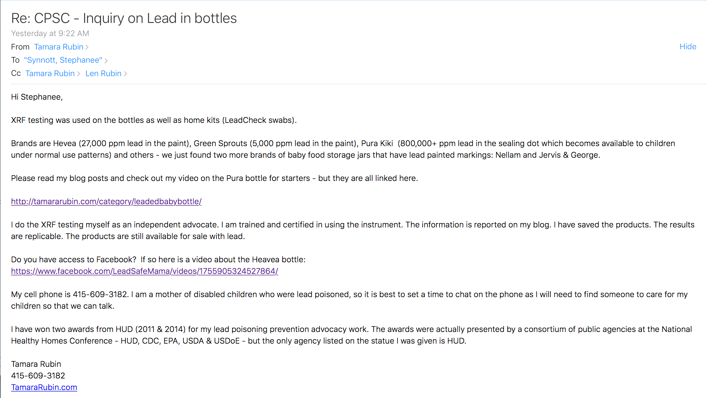My Response From The CPSC, Re: Lead In Baby Bottles - July 24, 2018