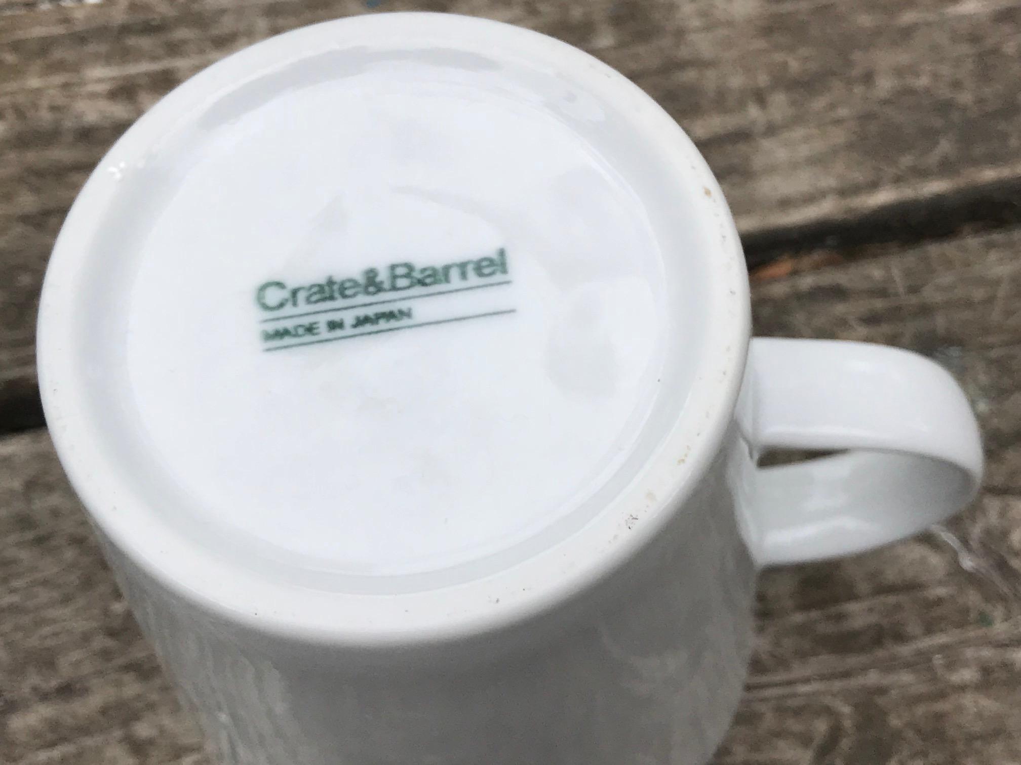 Crate & Barrel Made In Japan White Ceramic Mug