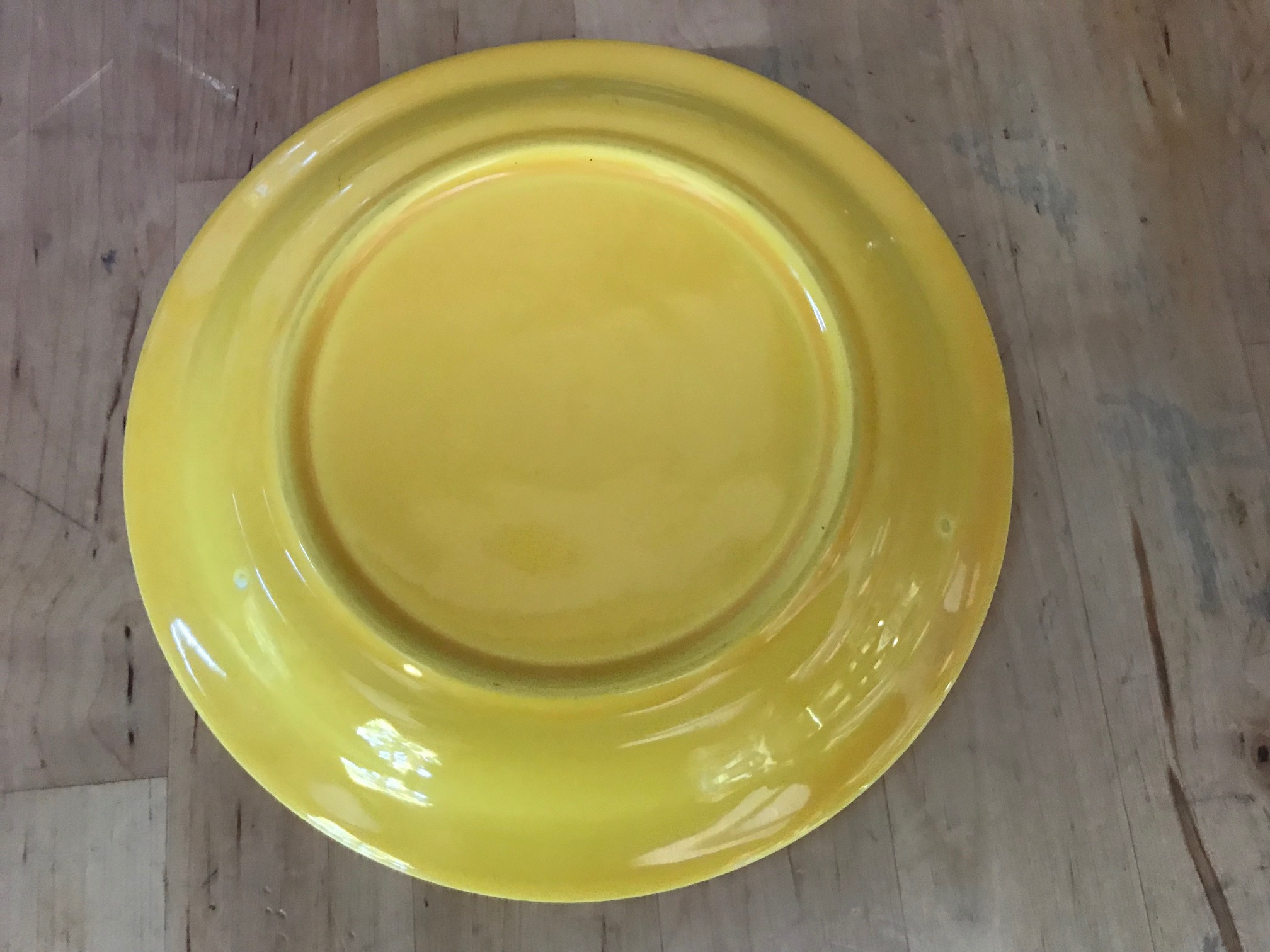 Vintage Yellow Ceramic Harlequin by Homer Laughlin Co. Fiesta Plate, c. 1938-1960