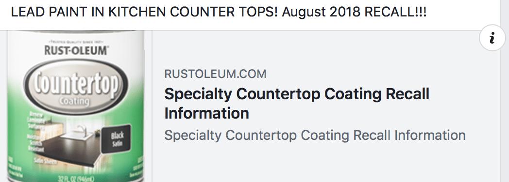 Lead Paint Recall, August 30, 2018 - Rust-Oleum Countertop Coating in Black Satin