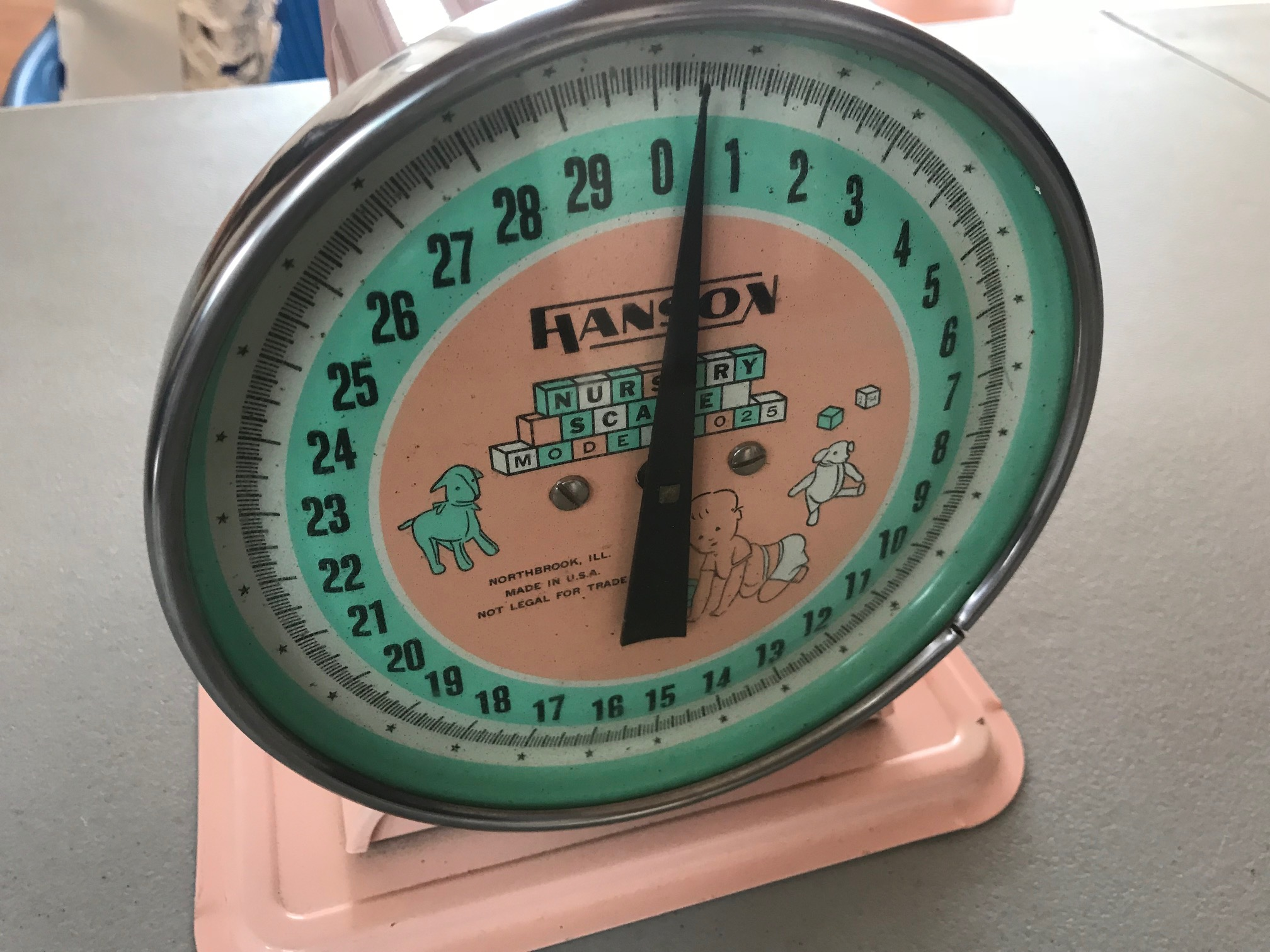 This vintage (c. 1950s?) Hanson Nursery Scale captures the historic pervasive footprint of lead paint historically, in one single simple object.