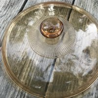 Large Amber Glass Visionware 2018 Pot Lid 1