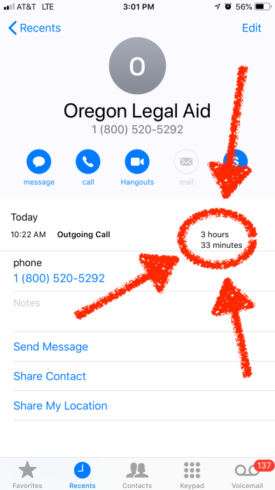 3 hour and 33 minute call with Legal Aid in September 2018