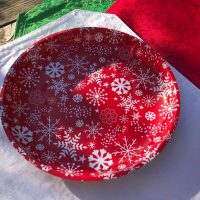 2018 Red And White Dollar Tree Christmas Snowflake Tray Lead Safe Mama 1