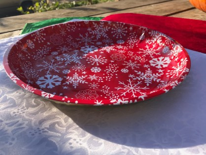 2018 Dollar Store Red & White Snow Flake Metal Tray / Plate: Lead Free!