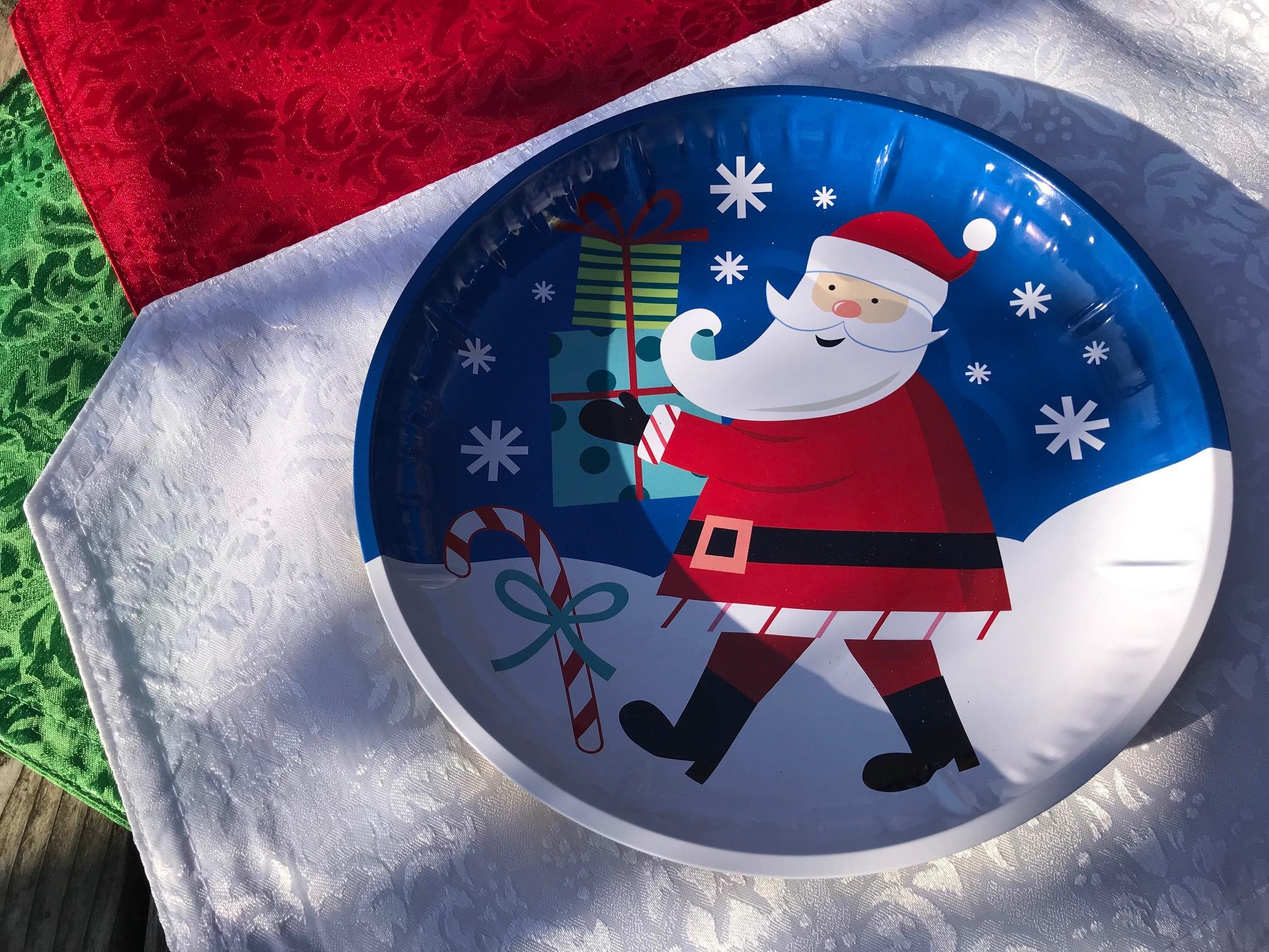 2018 Dollar Store Santa Claus Design Metal Tray / Plate: Lead Free!