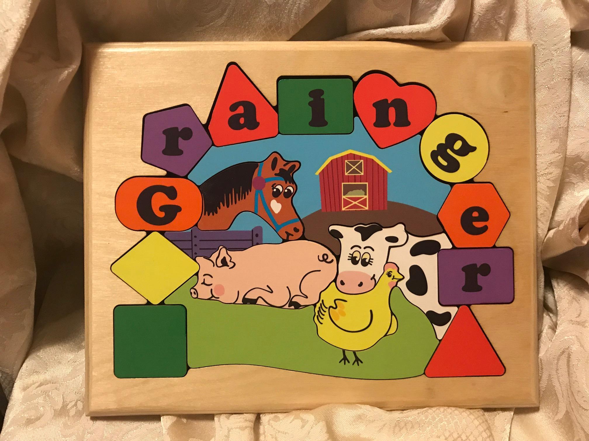You Name It Toys Custom Name Puzzle - Farm Theme: Lead Free