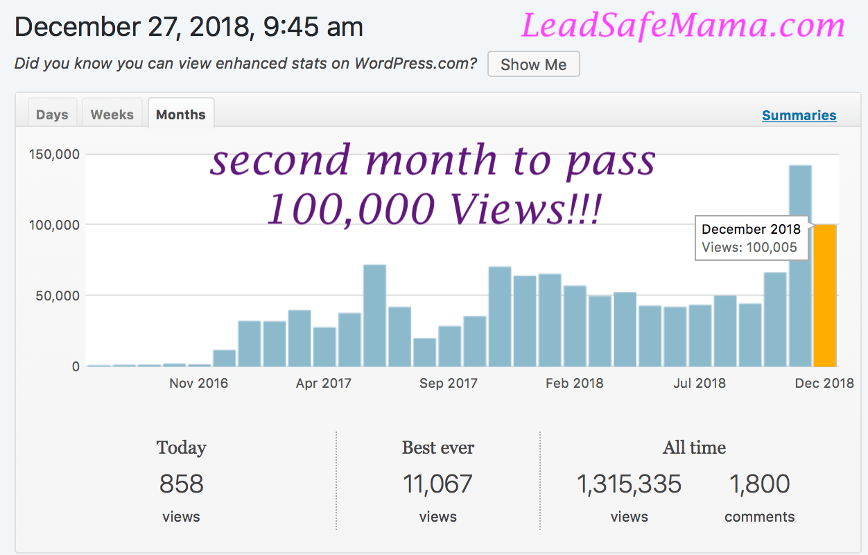 December 2018 just became the 2nd month ever on my blog to pass 100,000 unique views (following up on last month!) Thank you for reading and sharing my posts!
