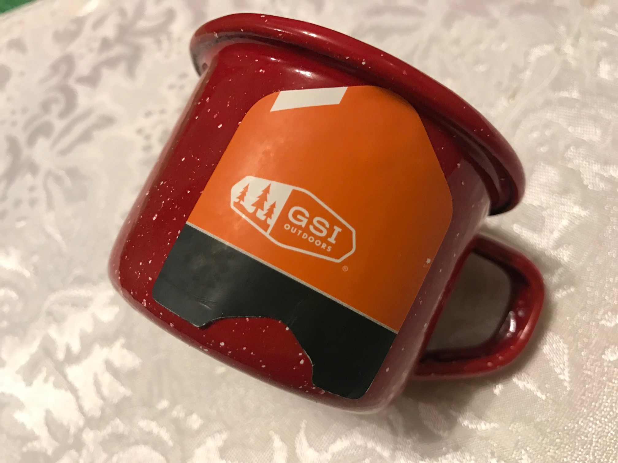 """Small Red & White Speckled GSI Outdoors Enamelware """"Baby Cup"""": 16,200 ppm Cadmium!"""