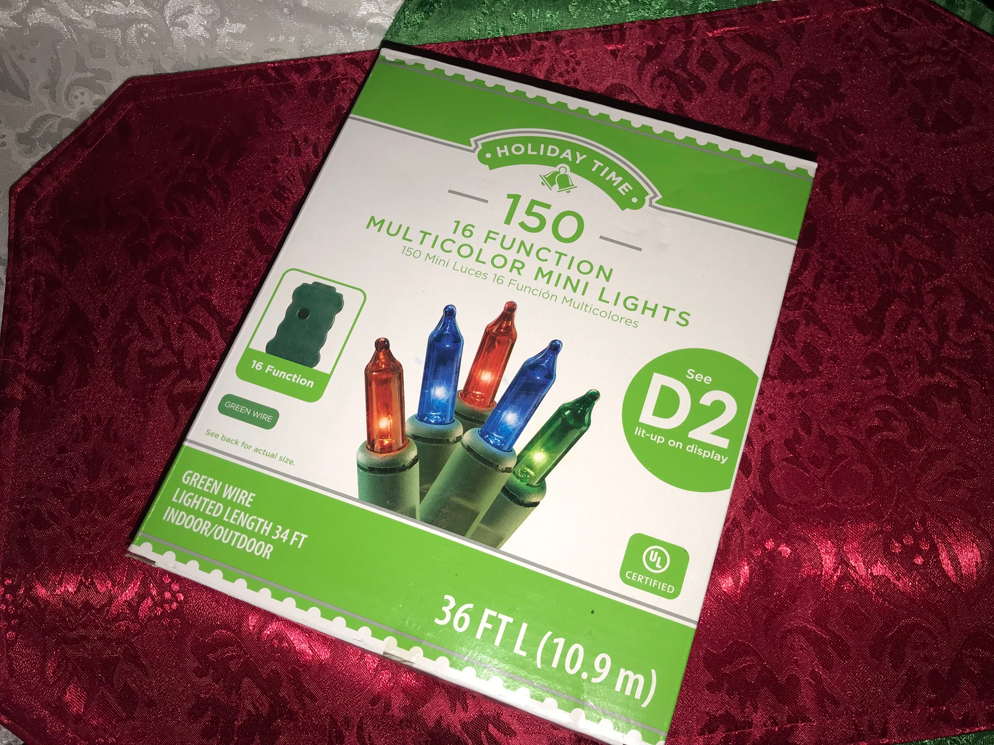 Walmart Holiday Time Plug In Christmas Lights With Green Wire Lead