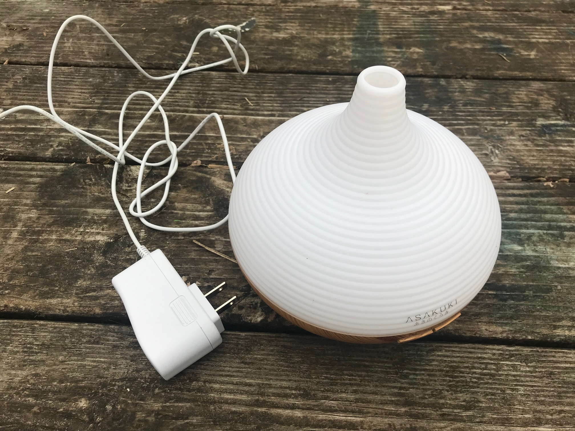 Asakuki White Plastic and Wood Design Essential Oil Diffuser:  9,398 ppm Lead in center of inside of unit.