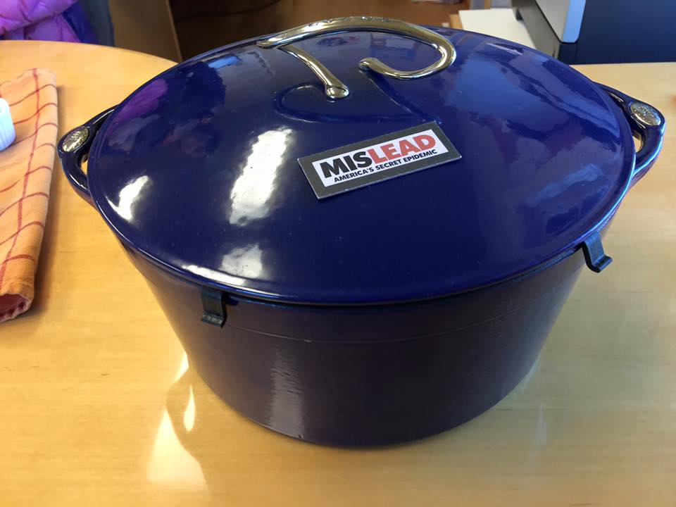 Dark Blue & White Lodge Cast Iron Enameled Dutch Oven (c. 2006): 1,693 ppm Lead + 555 ppm Arsenic