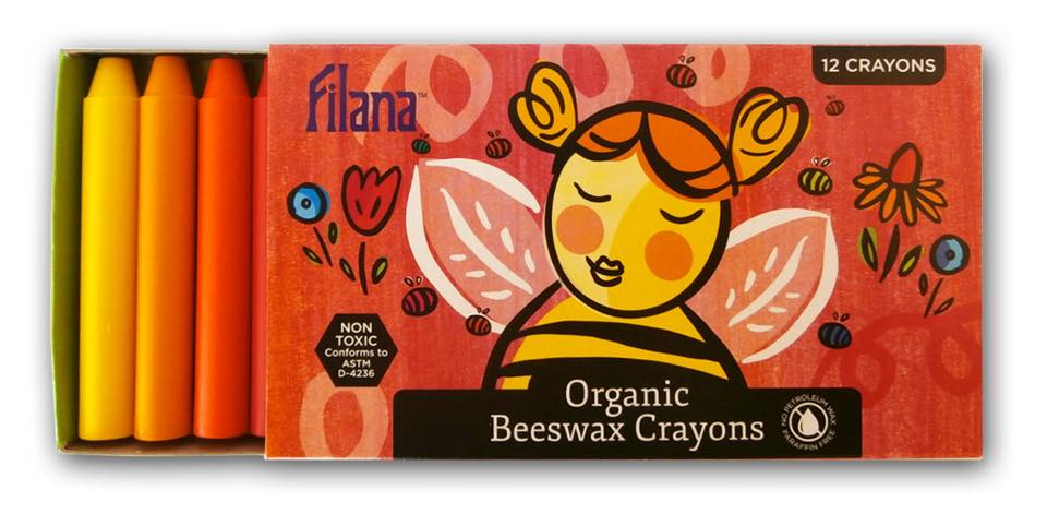 "Box of 12 Filana ""NonToxic"" Organic Beeswax Crayons (2019) Made in USA: Brown & Black were each positive for trace Cadmium (a known carcinogen."