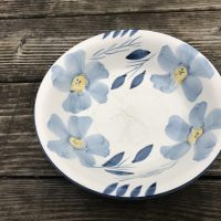 Dollar tree Blue and Yellow Floral Design Bowl Lead Safe Mama 2