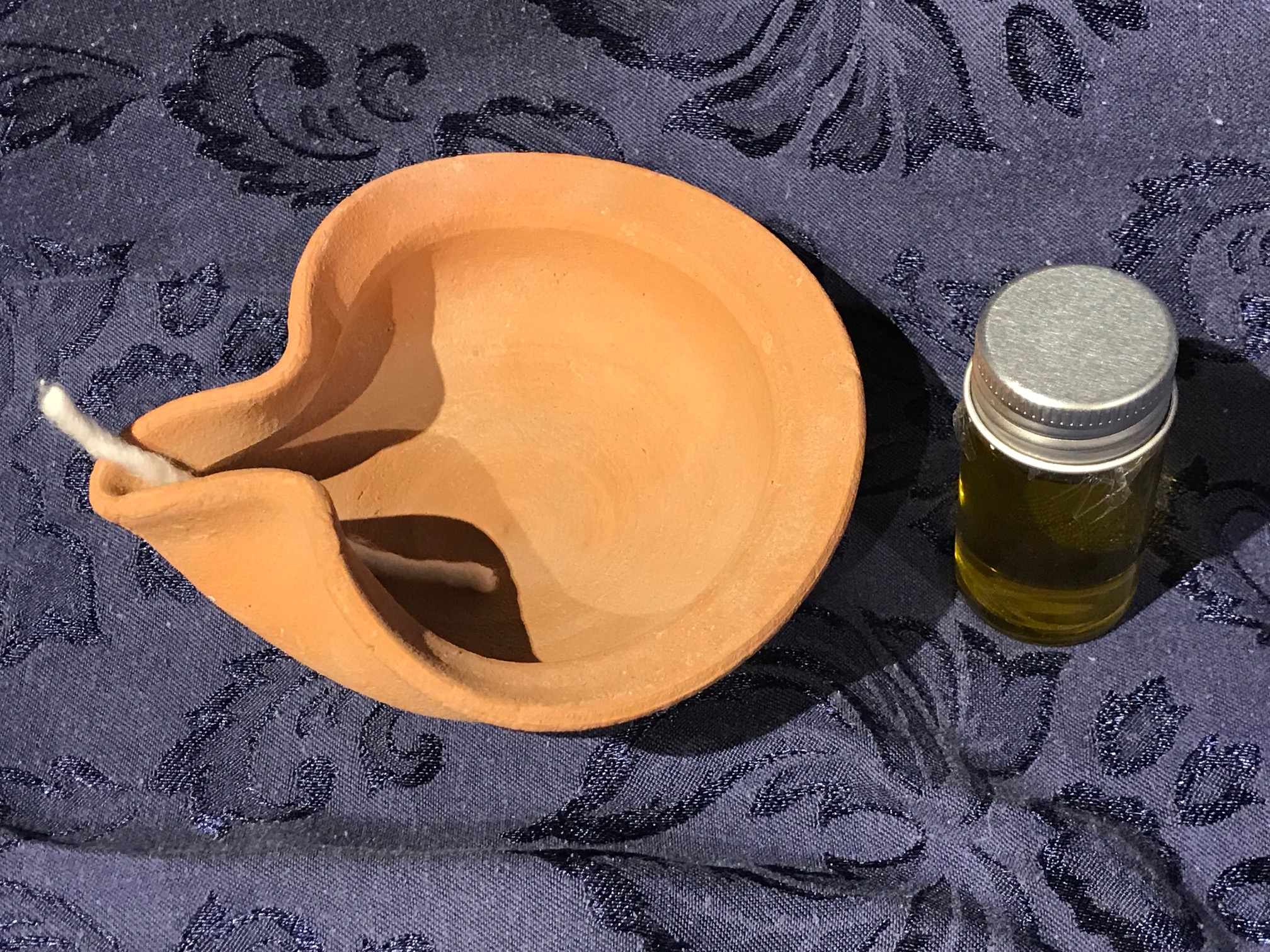 2018 Handmade Bare Unglazed Ceramic Made in Israel Olive Oil Lamp: Lead-Free (One of three lamps tested.)