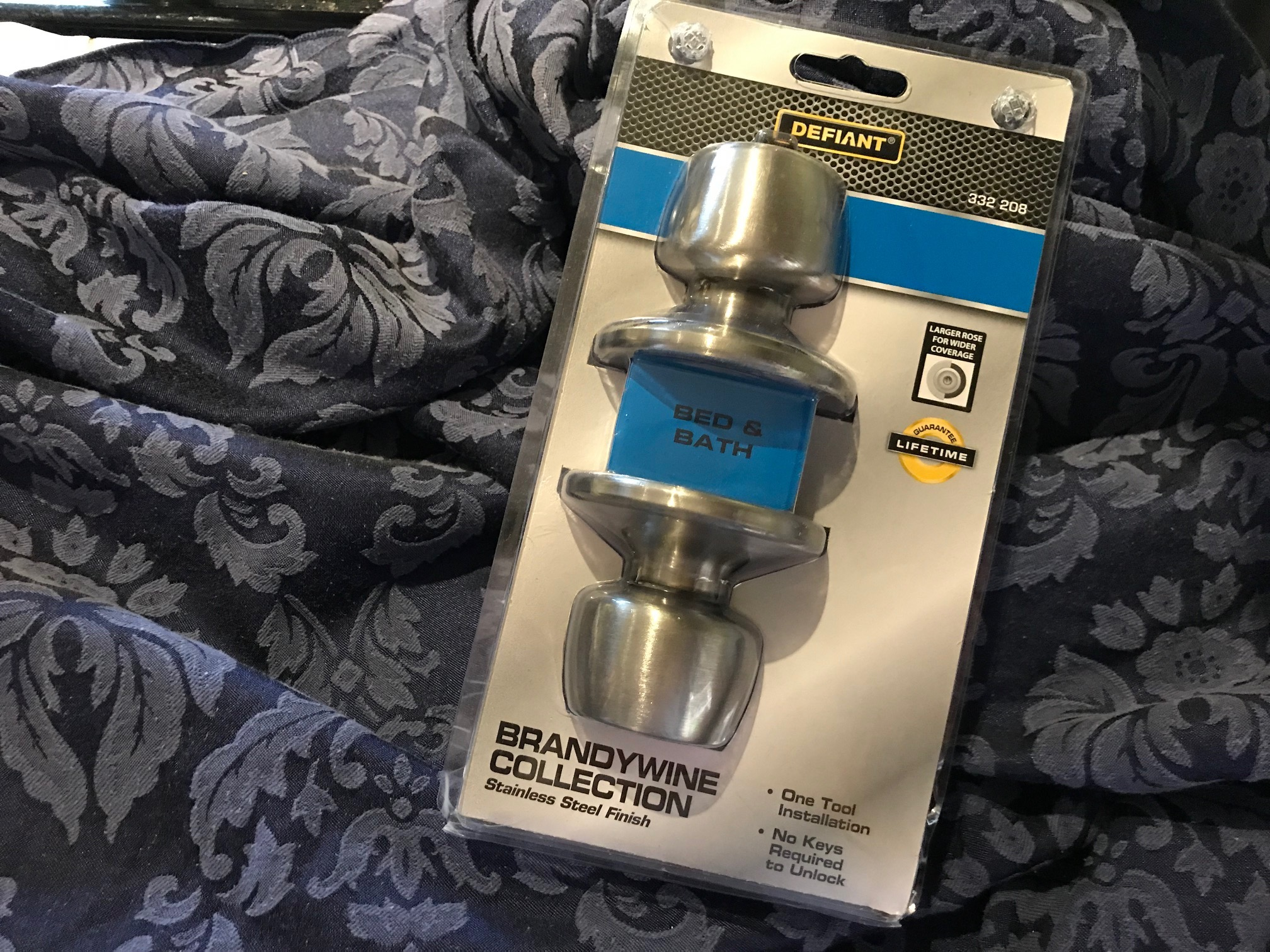 Home Depot Defiant Brandywine Collection Stainless Steel Finish Bed & Bath Door Knob Set: Lead-free in all accessible components.
